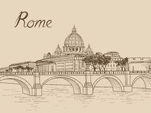 Rome cityscape with St. Peter`s Basilica. Italian city famous la Royalty Free Stock Image