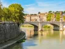 Rome cityscape, Tiber River Embankment, Rome Stock Photos