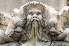 Rome. Close up of Fountain of the Pantheon (Fontana del Pantheon) at Piazza della Rotonda .. Rome, Italy stock photography