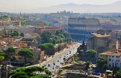 Rome Coliseum från över Arkivfoto