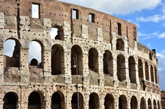 Rome Coliseum southern facade. Ancient Coliseum southern facade without the collapsed third ring Royalty Free Stock Image