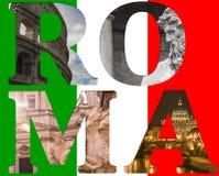 Rome collage av olika berömda lägen royaltyfri foto