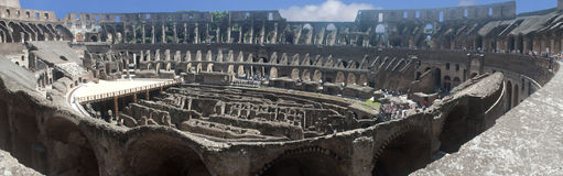 Rome colliseum. Panoramic view of the interior of the Colliseum in Rome Royalty Free Stock Image