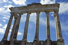 Rome, colonnade of the Temple of Saturn Stock Photos