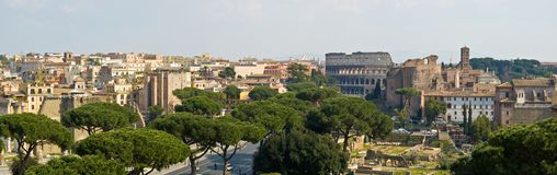 Rome and the Colosseum. Panoramic view of Rome and the Colosseum from the Palace of Victor Emmanuel II royalty free stock photos