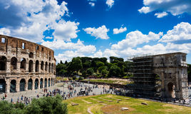 Rome Colosseum and The Arch of Constantine Stock Images