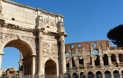 Rome Colosseum and Costantino Arch. Classic view of the Colosseum and the Costantino arch in Rome, Italy Stock Photos