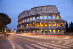 Rome - colosseum in evening. And the road Stock Images
