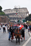 Rome Colosseum Horse & Carriage, Italy Stock Images