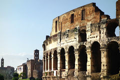 Rome Colosseum and Imperial Forum Panoramic View Royalty Free Stock Photo