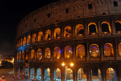 Rome and the Colosseum at night. A night view of the Colosseum in Rome Royalty Free Stock Image