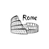 Rome Colosseum sign with lettering. Italian famous landmark Coliseum. Travel Italy icon Stock Photography