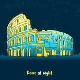 Rome Colosseum Skyline at night Stock Photography
