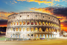Rome - Colosseum. At a sunset Royalty Free Stock Photography
