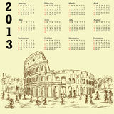 Rome colosseum vintage 2013 calendar. 2013 calendar with vintage hand drawn illustration of famous ancient tourist destination the colosseum of Rome Italy Royalty Free Stock Images