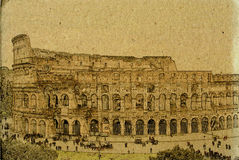 Rome colosseum vintage illustration stock illustration