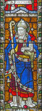 Rome - Columbanus on the stained glass of All Saints` Anglican Church by workroom Clayton and Hall 19. cent. Stock Photo