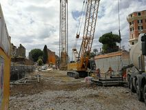 Rome - Construction site in Piazza del Colosseo. Rome, Lazio, Italy - April 10, 2017: the construction site for the construction of Line C of the new metro Stock Image