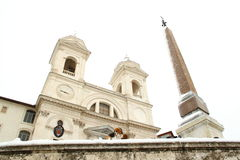 Rome covered by snow. A really rare event in Rome. Here Trinità dei Monti, hear Piazza di Spagna Stock Photography