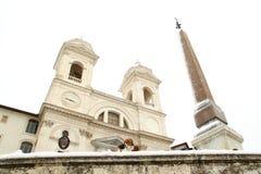 Rome covered by snow. A really rare event in Rome. Here Trinità dei Monti, hear Piazza di Spagna stock photography