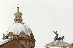 Rome covered by snow. A really rare event in the city Royalty Free Stock Photos