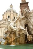 Rome covered by snow. The Fountain of For River in Piazza Navona covered by snow, a really rare event in Rome stock photography