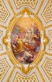Rome - de fresko in koepel van van dellasantissima Trinita van kerkchiesa degli Spanoli Royalty-vrije Stock Afbeeldingen