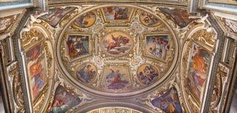 Rome - de fresko op de kluis van Kapel van St Giacinta Marescotti in kerk San Lorenzo in Lucina Stock Fotografie
