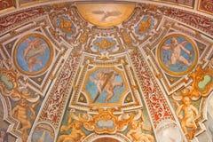Rome - de fresko van apsis in kapel st Clara in kerk Basilica Di Sant Agostino (Augustine) Stock Afbeelding