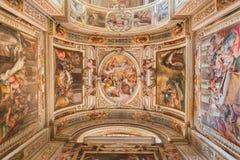 Rome - de plafondfresko door G B Ricci van 16 cent in Di Santa Maria van kerkchiesa in Transpontina en kapel van st Peter Royalty-vrije Stock Foto