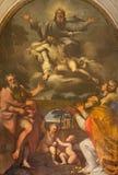 Rome - de verf van heilige Drievuldigheid en de heiligen Bartholomew en Nicholas van Bari in Di Santa Maria ai Monti van kerkchie Royalty-vrije Stock Fotografie