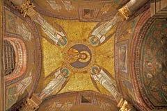 Rome - den gammala mosaiken från taklägger av sidokapell från den Santa Prassede kyrkan Fotografering för Bildbyråer