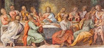 Rome - den sista kvällsmålet Freskomålning i kyrkliga Santo Spirito i Sassia av den okända konstnären av 16 cent Royaltyfri Bild