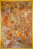 Rome - The Deposition of the cross fresco by Daniele da Volterra (after 1546) in church Chiesa della Trinita dei Monti. Stock Photos