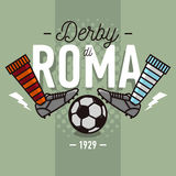 Rome Derby In Italian Label Design. Soccer Boots And Ball Flat T. Hin Line Illustration.  Vector Graphic Stock Photography