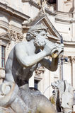 Rome - The detail of fountain Fontana del Moro by Giacomo della Porta 1575 on Piazza on Navona and baroque Santa Agnese in Agone Stock Photos