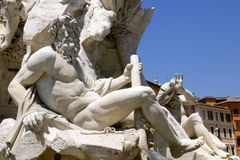 Rome: detail of the fountain in Piazza Navona Royalty Free Stock Image