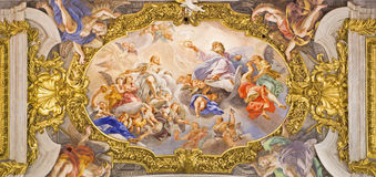 Rome - The detail of fresco on ceiling of church Chiesa del Jesu Royalty Free Stock Image