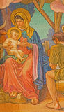 Rome - detail of Madonna from mosaic of Three Magi by Edward Burne-Jones in anglicans church Chiesa di San Paolo dentro le Mura Stock Image
