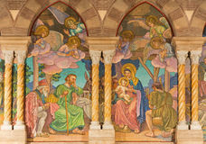 Rome - The detail of mosaic of Three Magi by Edward Burne-Jones in anglicans church Chiesa di San Paolo dentro le Mura Stock Images