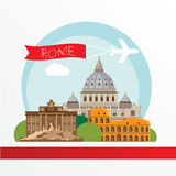 Rome detailed silhouette. Trendy vector illustration, flat style. Stylish colorful  landmarks. Stock Photos
