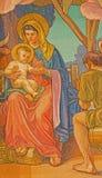 Rome - detalj av Madonna från mosaiken av tre de tre vise männen av Edward Burne-Jones i den Chiesa di San Paolo för anglicanskyr Fotografering för Bildbyråer