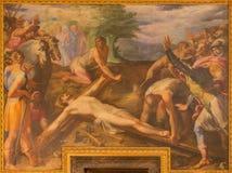 Rome - detaljen av målarfärg Jesus spikas till korset i kyrkliga Chiesa del Jesu av Gaspare Celio i kyrkliga Chiesa del Jesu Royaltyfria Foton