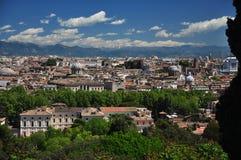 Rome, die de oude stad van de Gianicolo-heuvel overzien Stock Foto's