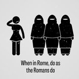 When in Rome Do as the Romans Do Proverb. A motivational and inspirational poster representing the proverb sayings, When in Rome Do as the Romans Do with simple Royalty Free Stock Photos
