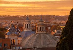 Rome domes sunset skyline royalty free stock photography