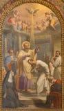 Rome - dopet av den St Augustine annonsSt Ambrose freskomålningen i Basilika di Sant Agostino (Augustine) vid Giovanni Battista S Arkivfoton