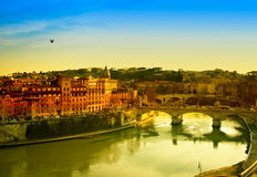 Rome At Dusk. Travel Series - View of Rome and Tiber river at dusk royalty free stock photos