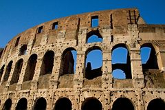 Rome empire colloseum. Photo shows remaining parts of the Rome empire ruins royalty free stock photo