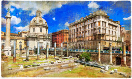 Rome - eternal city. Artistic picture in painting style stock photos